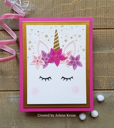 Project Ideas for Pinkfresh Studio - Clear Photopolymer Stamps - Magical Unicorn Unicorn Birthday Cards, Girl Birthday Cards, Birthday Cards For Women, Unicorn Cards, Homemade Birthday Cards, Homemade Cards, Karten Diy, Kids Cards, Cards Diy