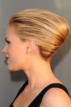 For fancy evening affairs, rock a sophisticated slicked-back style like the gorgeous Anna Paquin's French twist. -pin it by carden