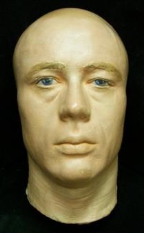 This is the death mask of the famous film star, James Dean. This death mask is unusual for being in color.