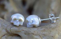 Carved Pearl Skull Stud Earrings with Sterling by ArloEdgeWalker
