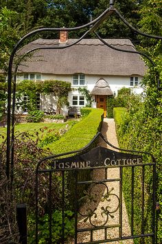 """Jasmine Cottage"", Thatched Roof English Country Cottage House with iron Gate English Country Cottages, English Countryside, Cute Cottage, Cottage Style, Irish Cottage, Cottage Living, Cottage Homes, Beautiful Homes, Beautiful Places"