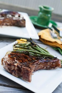 Grilled Pork Chops with Blueberry Balsamic Glaze from Savvy Eats