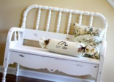 cute diy bench from old twin bed frame.
