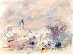 Aquarelle originale de village sous la neige - la neige tombe sur les maisons dans la campagne en France en hiver - peinture originale