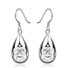 fonk silver earings Hollow Weave Flower drop cufflinks Jewelry European Style HBE382 *** Continue to the product at the image link. Note:It is Affiliate Link to Amazon.