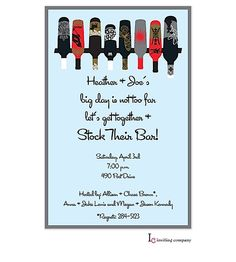 cute wording/invitation for the stock the bar party | engagement, Party invitations