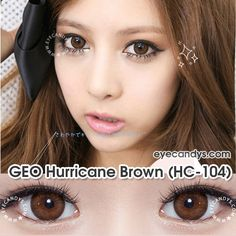 GEO Hurricane circle lenses are some of the most realistic color contacts. They make dark eyes appear more vivid. Dolly effect is minimal. Try these; I guarantee you won't be disappointed! SHOP >> http://www.eyecandys.com/hurricane-series-14-0mm/
