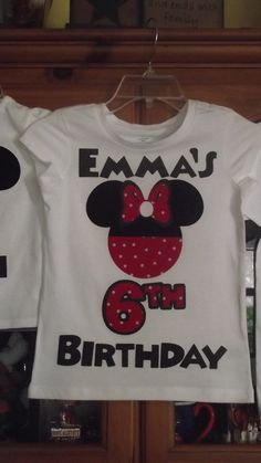 Red Black Minnie Mickey Mouse - Mommy & Baby Disney Birthday Family Custom T-Shirt Personalized Applique Head. $18.00, via Etsy.