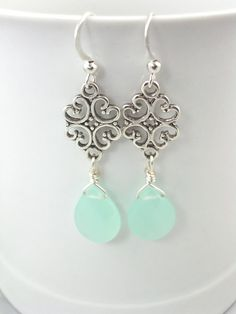 cute blue chalcedony gemstone and silver by sweetstonesjewelry, $9.99