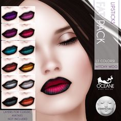 https://flic.kr/p/zUe3CD | Oceane -Witchy Woo Lipsticks Fat Pack LELUTKA | Second Life Marketplace: marketplace.secondlife.com/stores/7401  www.oceanebodydesign.com/   Inworld Store: maps.secondlife.com/secondlife/Oceanside%20dAlliez/194/21...