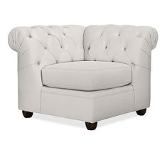 Chesterfield Upholstered Corner, Polyester Wrapped Cushions, Performance Heathered Tweed Ivory