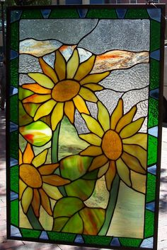 Amazon.com: Stained Glass Window Panel 22'' X 13'' {9120-40}: Home & Kitchen sunflowers