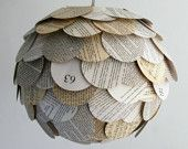 Artichoke Road Map Pendant Light - Hanging Paper Lantern - Shade Only. $85.00, via Etsy.