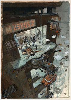 Orbital - Premières rencontres - Planche 62 by Serge Pellé - Comic Strip Ville Cyberpunk, Cyberpunk Anime, Cyberpunk City, Sendai, Fantasy Landscape, Fantasy Art, Dark Pop, Dark Drawings, Strip