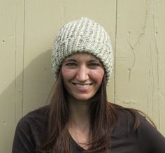 Oatmeal with Black Fleck Lion Brand Woo lEase Thick & Quick Knitted Hat by ArtTx, $20.00