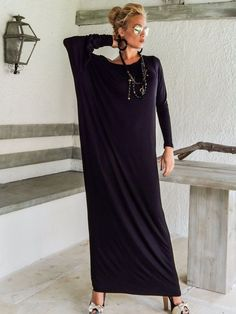 Cool Maxi Dresses for Women Black Maxi Long Sleeve Dress / Black Kaftan / Asymmetric Plus Size Dress / Oversize Loose Dress / #35046
