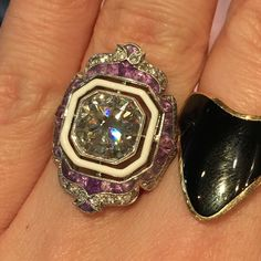 New but beautiful and unique amethyst enamel and 3 carat diamond. #uniquejewelery