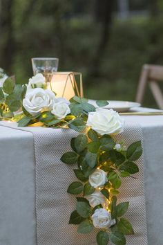 Rose Flower Runner with Light Handcrafted Ivory Flowers + Rose Leave Garland with LED Light – Ling's moment Wedding Aisle Decorations, Wedding Table Centerpieces, Wedding Bouquets, Wedding Flowers, Diy Wedding, Wedding Ideas, Centerpiece Ideas, Centerpiece Flowers, Wedding Greenery