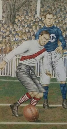 Part of an artwork by DJ Williams depicting a scene from the 1909 VFL Grand Final between South Melbourne and Carlton. Available as a premium quality Giclee print.  #DJWilliamsArt