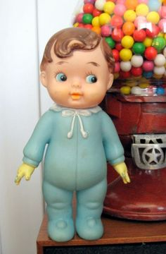 1950s60s Rubber Boy Baby Doll Squeaker Toy by ToysnSuch on Etsy,