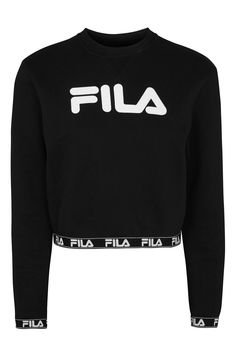 Logo Band Sweatshirt by FILA Perfect layered over a sports bra, this cropped sweatshirt by FILA in black features the brands iconic logo to the front and is detailed to the waistband and cuffs By Fila. Sporty Outfits, Swag Outfits, Outfits For Teens, Cute Outfits, Fila Apparel, Nike Hoodies For Women, Fila Outfit, Clothing Brand Logos, Bra And Underwear Sets