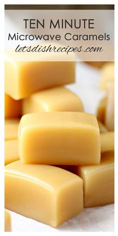 Ten Minute Microwave Caramels Recipe: Delicious, chewy caramels made in 10 minutes or less in your microwave oven! Caramel Recipes, Fudge Recipes, Candy Recipes, Sweet Recipes, Baking Recipes, Holiday Recipes, Dessert Recipes, Easy Chewy Caramel Recipe, Cookie Recipes