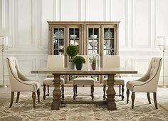 dinner room table very similar to restoration hardware one that i liked.love these chairs with the rustic table Kitchen Table Chairs, Dinning Room Tables, Dining Room Sets, Dining Room Design, Dining Room Furniture, Table And Chairs, Space Furniture, Plywood Furniture, Side Chairs