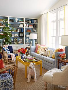 In this kicky living room, sunny-yellow, warm coral, and botanical-green give a blue-and-white combo a run for its money.