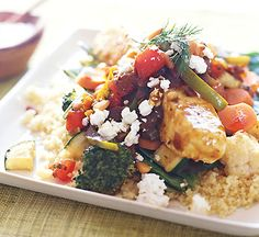 Black Sea Bass with Moroccan Vegetables and Chile Sauce from Epicurious.com #myplate #protein #vegetables