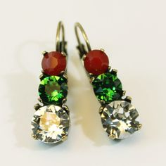 Christmas Earrings Red Green Crystal Holidays drop by TIMATIBO