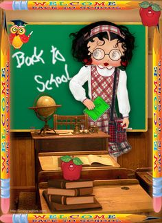 gifs betty boop et divers - Page 2 Betty Boop Song, Back To School Art, Black Betty Boop, Teacher Ornaments, Best Cartoons Ever, Betty Boop Pictures, Favorite Cartoon Character, Biker Girl, Cute Images