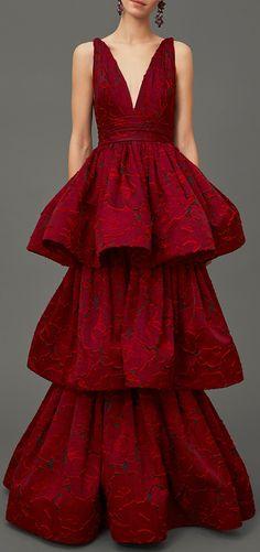 MARCHESA Textured Rose Brocade Tiered Gown