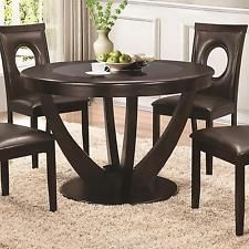 Coaster 106741 Stapleton Cappuccino Round Dining Table Black Glass Top