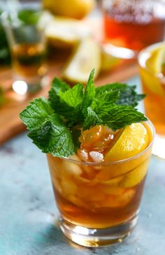 Serve up a round of this delicious Bourbon Mint Iced Tea cocktail recipe for a fresh adult beverage that's perfect for celebrating. The hint of lemon helps make this drink idea extra refreshing.