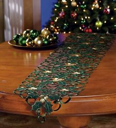Cut-Out Christmas Holly Table Runner Decoration By Collections Etc Christmas Runner, Cozy Christmas, Christmas Past, Christmas Colors, All Things Christmas, Christmas Crafts, Christmas Decorations, Christmas Ornaments, Silhouette Cutter