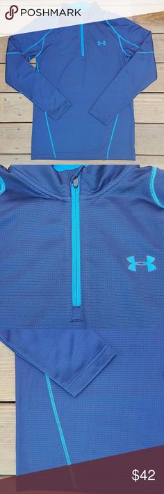 Under Armour Fitted 3/4 zip up Navy blue with royal blue accents. Fully lined with fleece. EUC!! Under Armour Tops Tees - Long Sleeve