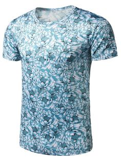 Crew Neck Floral Print Tee - LAKE BLUE M