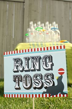 Darling carnival sign idea for a fun game. Carnival decorations make your kids carnival loads of fun!