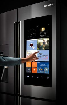 THE FUTURE IS NOW The heart of the 'Family Hub' fridge is a 21.5-inch high-definition LCD touchscreen display on the outside of the refrigerator's top right door. Using that screen, families can leave each other notes, share photos, check their calendars, mirror their Samsung smart TV, stream music, and partake in a host of other activities you probably never even thought you might want to do on your fridge (and, um, you might still not want to do). RF28K9580SG #samsung #insane #touchscreen