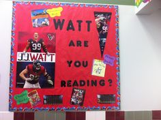 """Library bulletin board to go with our schoolwide theme this year - """"Teamwork makes the Dream work!"""""""