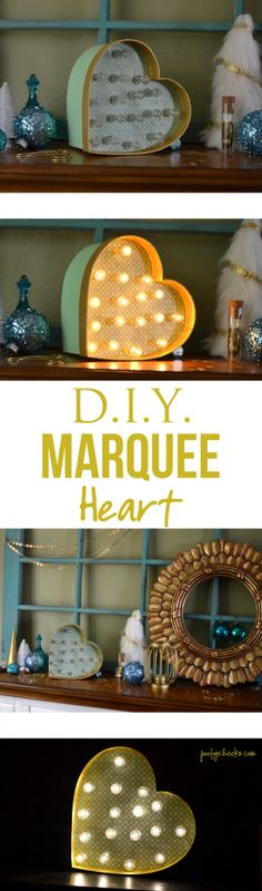 DIY Heart Marquee Light Tutorial Do in letters? Diy Ombre, Diy Tapete, Cool Diy, Do It Yourself Inspiration, Bedroom Organization Diy, Marquee Lights, Ideias Diy, Ideas Geniales, Home And Deco
