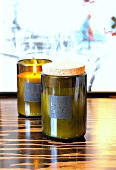 Pacific Teakwood Natural Soy Candle 8oz Wine Bottle by LitandCo, $19.50