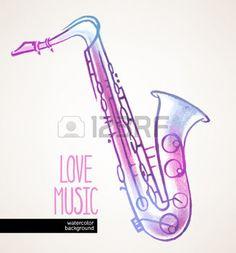 dessin instrument de musique: belle main d'aquarelle attirée saxophone sur fond beige Illustration