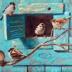 No photo description available. Animal Paintings, Paintings I Love, Beautiful Paintings, Bird Artwork, Little Birds, Wildlife Art, Painting Techniques, Beautiful Birds, Painting Inspiration