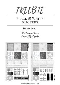 Free Black And White Stickers For Mini Happy Planner or Personal Size Agenda