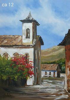 Watercolor Landscape, Landscape Art, Landscape Paintings, Watercolor Art, Acrylic Painting Canvas, Canvas Art, Baroque Painting, Cottage Art, Chapelle