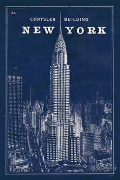 Blueprint Map New York Chrysler Building Posters by Sue Schlabach at AllPosters.com