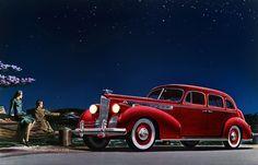 Packard Super-8 print. 1940 Packard Super-8 One-Sixty Touring Sedan. Red Packard.