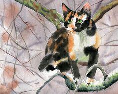 Calico Cat  Art Print of a Watercolor Handmade by rachelsstudio, $25.00
