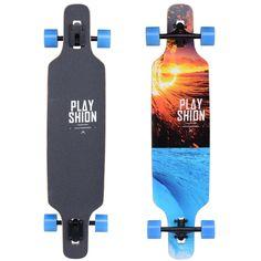 Playshion Freeride Freestyle Drop Through Longboard Skateboard Complete (Surf)